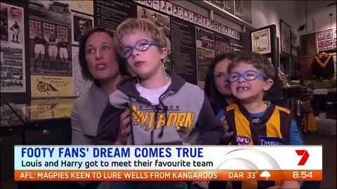"""7 News Melbourne on Twitter: """".@CyrilRioli33 and @LHodge15 meet little Harry and Louis as @HawthornFC supports @UsherKids. @nathantemp7 reports. https://t.co/8naGzhyGEl"""""""