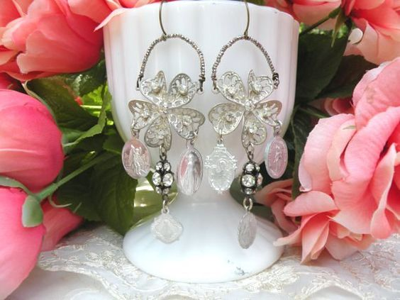old medal charm earrings religious assemblage by lilyofthevally