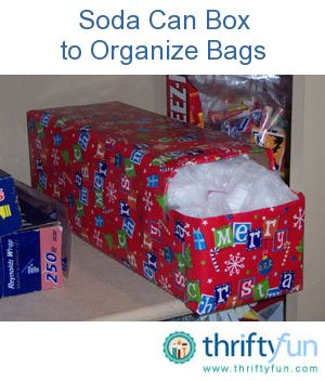 Re~use an empty cardboard soda case that your sodas come in for storing empty plastic bags.  The hole that dispenses the soda is used for both loading your plastic grocery bags and removing.  I would choose a cuter pattern for the covering, but...it's a clever idea!