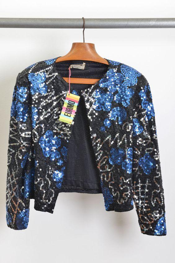 jaqueta bordada paetês / anos 80' / tam.M / ♥ 250,