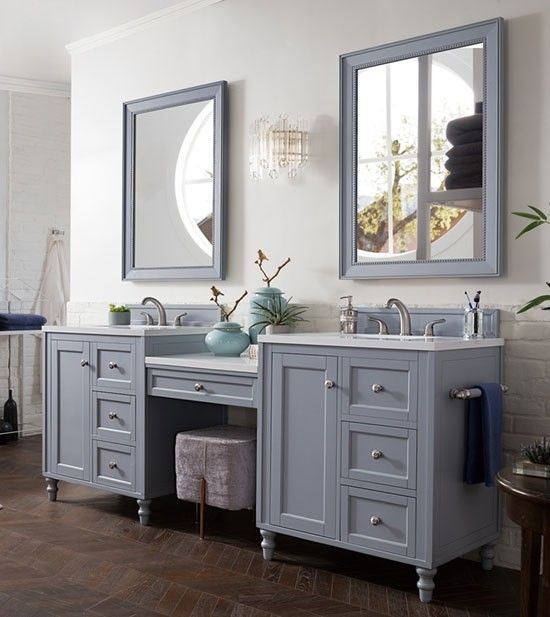 James Martin Copper Cove Encore Double 86 Inch Silver Gray Vanity Cabinet Optiona Primitive Bathrooms Transitional Bathroom Vanities Double Vanity Bathroom