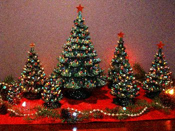 A forest of ceramic Christmas trees.