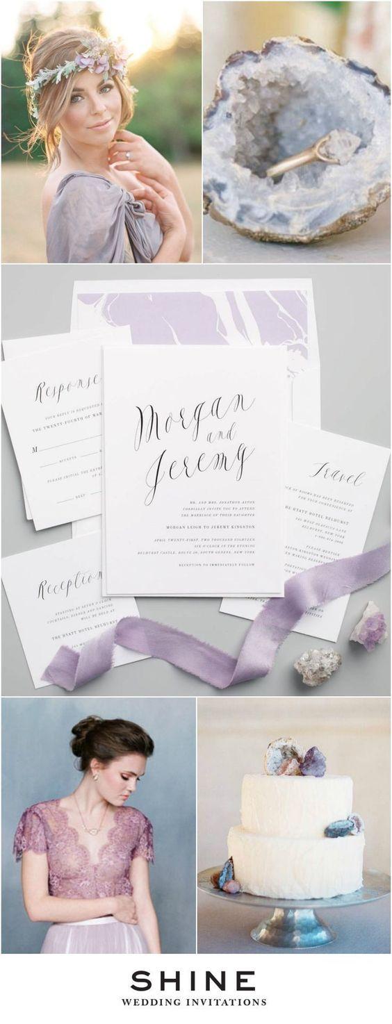 Purple Geode Wedding Inspiration | Ethereal Calligraphy Wedding Invitations…