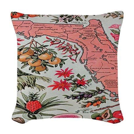 Vintage Florida Fruit Flower M Woven Throw Pillow on CafePress.com