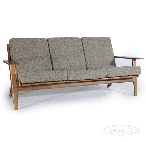 hans j wegner style plank sofa oatmeal twill dark wood
