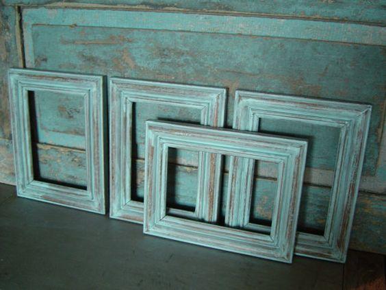 distressed aqua picture frames.