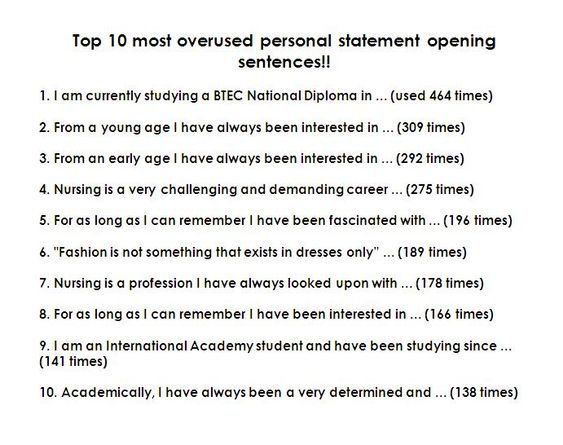 10 most overused sentences in personal statements business resumes etc - Resumes Etc