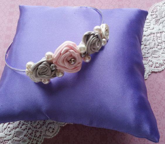 handmade ribbon rose headpiece handmade by Beautiful Unique
