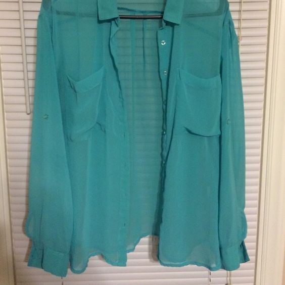 Garage chiffon top Teal chiffon button up top. Garage Tops Button Down Shirts