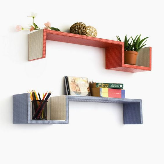 Trista - [Grayish Purple & Red] S-Shaped Leather Wall Shelf / Bookshelf / Floating Shelf (Set of 2)