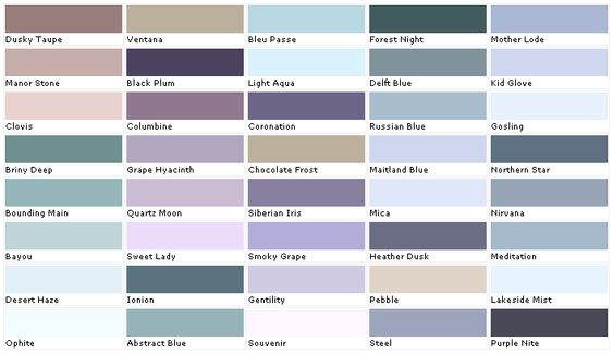 lavender paint colors chart House Paint Color - Chart, Chip - sample general color chart