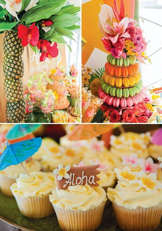 Festa de aniversário com o tema Havaí! Fresca, alegre e colorida de verão!: