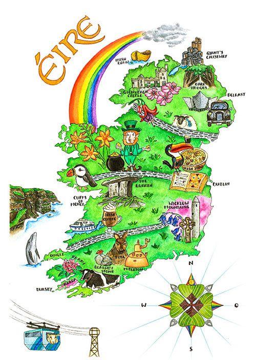 Bildergebnis für irland karte mit sehenswürdigkeiten | Irland karte,  Irland, Karten