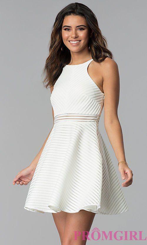 Short White Grad Dress With Sheer Waist White Short Dress White Cocktail Dress Short White Dress Graduation