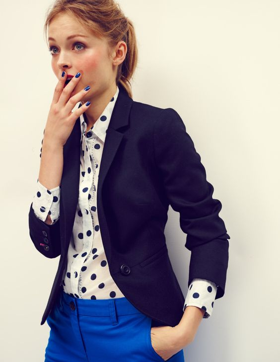 Blue pants and polka dot shirt ♥ cute and classy, but has such a personality!