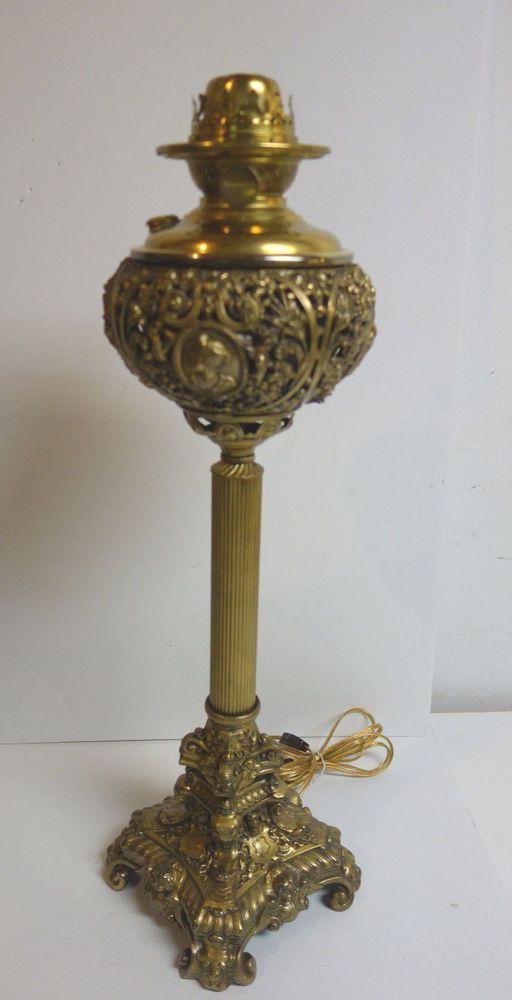 SUCCESS ELECTRIFIED OIL KEROSENE BANQUET LAMP CHERUB BASE AND CAMEO FONT