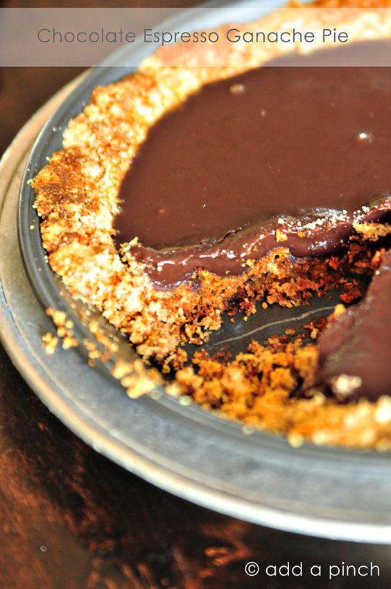 Chocolate Espresso Ganache Pie | Add a Pinch by @addapinch | Robyn Stone