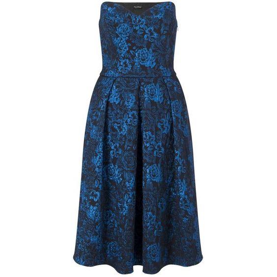 Miss Selfridge Bow Bandeau Midi Dress ($91) ❤ liked on Polyvore featuring dresses, blue, floral print midi dress, calf length dresses, bandeau midi dress, mid calf dresses and midi dress