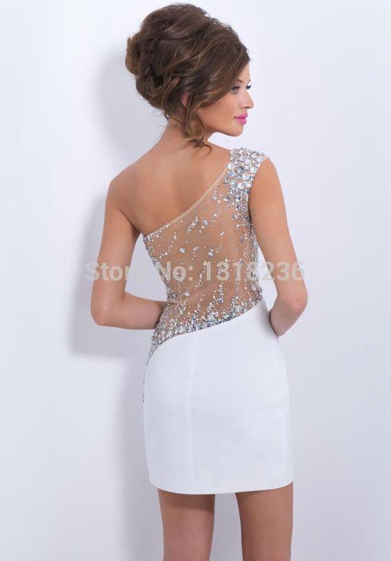 2015 Sexy Sheath Mini Chiffon One Shoulder Beading Sleeveless Black White Cocktail Dresses