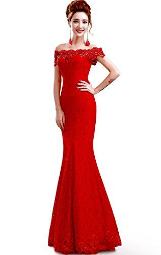 Babyonline 2016 off shoulder lace red Mermaid Evening Formal Bridesmaid dress * Want to know more, visit http://www.amazon.com/gp/product/B019DSBUTE/?tag=passion4fashion003e-20&za=050816142548