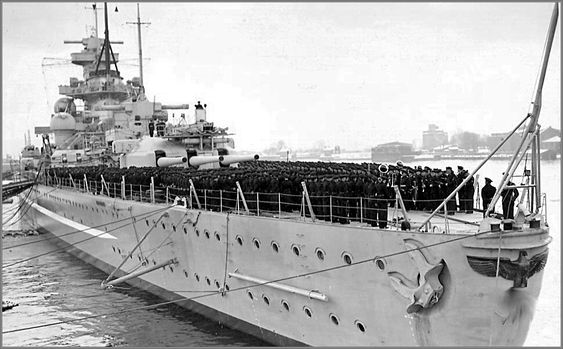 German battlecruiser Scharnhorst with the ship's company on deck, January 7th 1939.