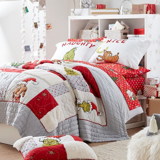 Christmas Flannel Bed Sheets Sets 2020 The Grinch™ Flannel Dot Duvet Cover & Sham in 2020 | Christmas