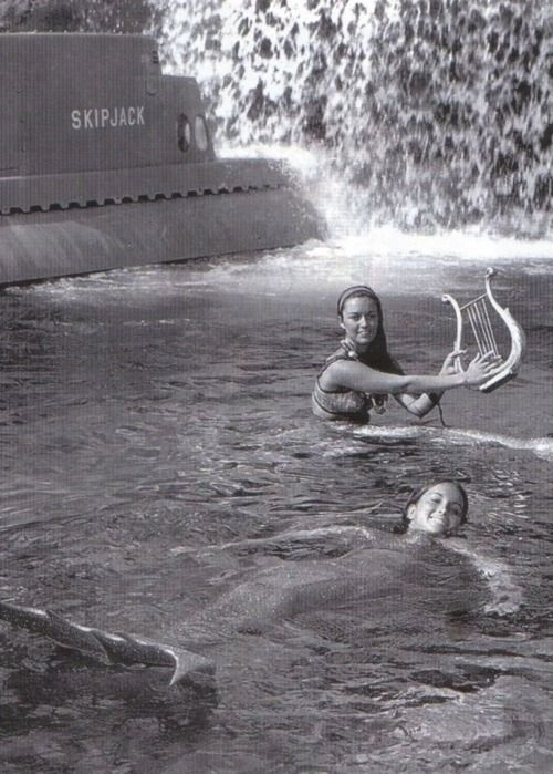 Disneyland Mermaids. Yes, they used to have real women sitting in the lagoon posing as mermaids for the Submarine Voyage!  WHY WASN'T I BORN AND WHY COULDN'T THIS HAVE BEEN MY JOB: