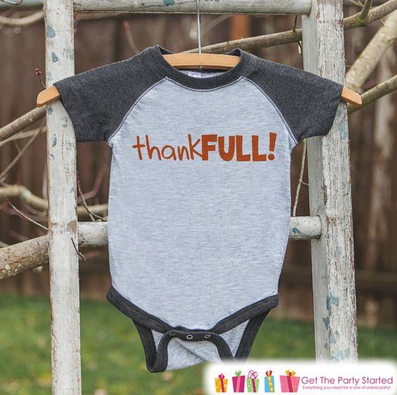 Kids Thankful Shirt - ThankFULL! Thanksgiving Shirt or Onepiece - Happy Thanksgiving - Grey Raglan - Infant, Toddler, Youth Thanksgiving