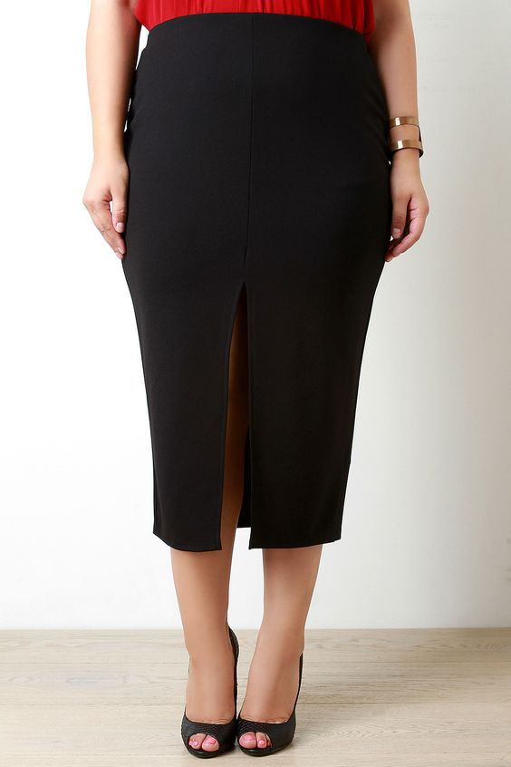 Front Slit Midi Pencil Skirt
