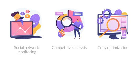 Internet Advertisement Analytics Icons Set Seo Solutions Search