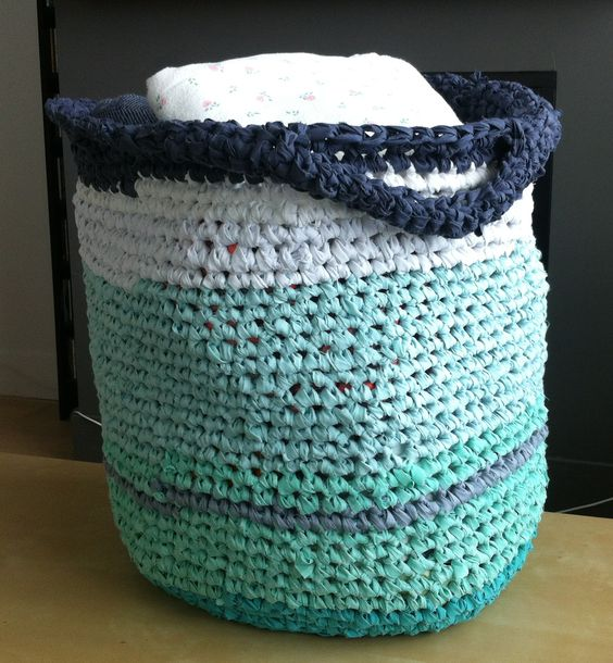 Diy Rag Rug Basket: Baskets, Rag Rugs And Laundry On Pinterest