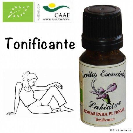 Mezcla aromatica Tonificante Bio. 12 ml  La albahaca, presente en esta mezcla, es muy tonificante y en combinacion con el espliego y el romero actua sobre cuerpo y mente.
