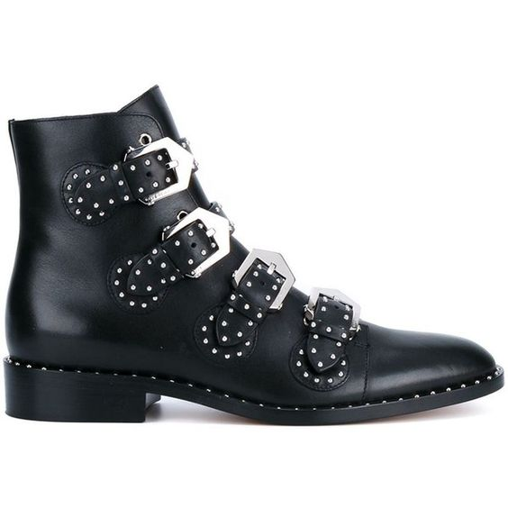 Givenchy 'Pure' biker boots (€1.110) ❤ liked on Polyvore featuring shoes, boots, black, round toe boots, moto boots, black motorcycle boots, givenchy boots and black engineer boots