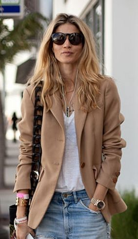 Classic casual with camel blazer, white tee and boyfriend jeans.: