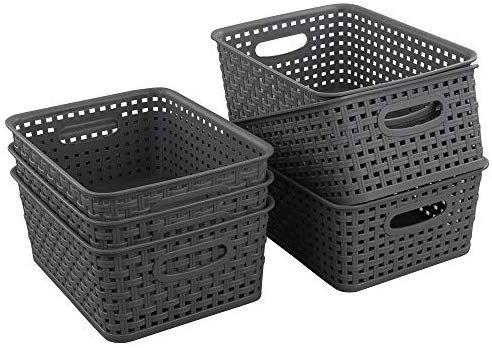 Amazon Com Teyyvn Plastic Storage Basket 10 03 X 7 59 X 4 09