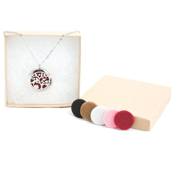 Aromatherapy Essential Oil Diffusing Necklace Elegant Tree Easy Open Screw To... #LHP
