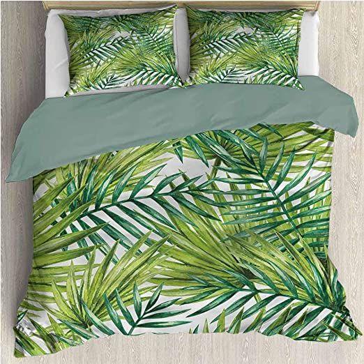 Plant Comforter Bedding Set Cal King 1 Duvet Cover Amp 2 Pillowcases Tropical Palm Leaves Light In 2020 Comforter Bedding Sets Lightweight Duvet Covers Bedding Set