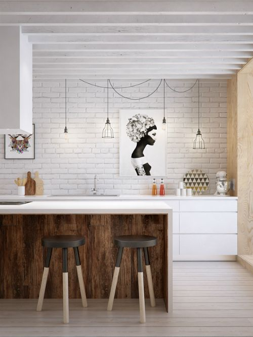 two-tone kitchen - love the raw wood under the counter for the breakfast bar: White Brick Wall, Interior Design, White Bricks, White Kitchen, Brick Walls, Barstool