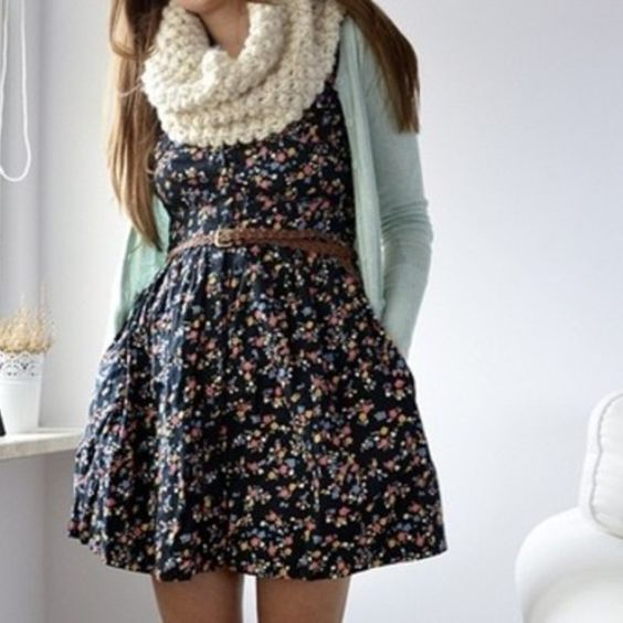 Pink Floral Dress, Red Leather Jacket, Red Boots (with Black Tights, Belt, a Scarf?)