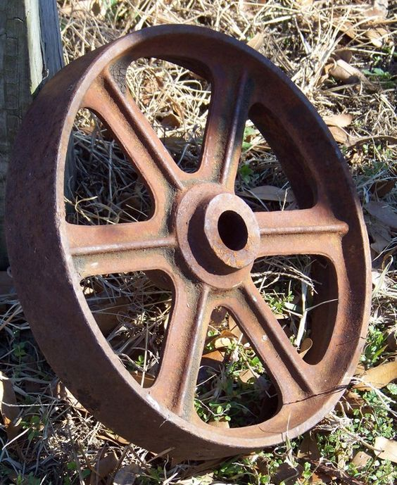 OLD Rusty Iron Farm Equipment Wheel by AlloftheAbove on Etsy, $65.00