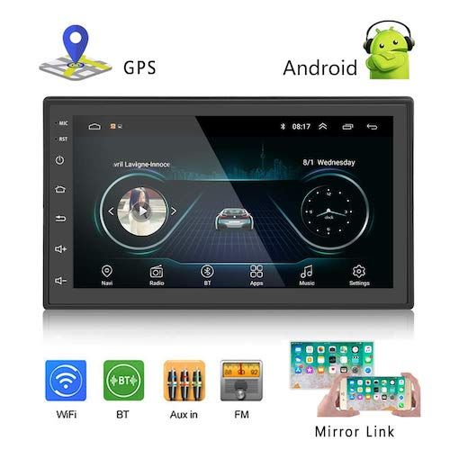 Podofo Car Gps Navigation Stereo Double Din Android Head Unit With Bluetooth 7 Inch Lcd Touch Screen 1g 16g Sup Android Car Stereo Gps Units Gps Navigation