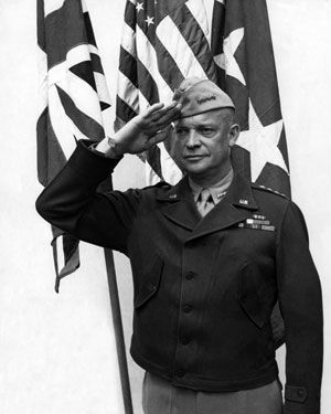 Dwight D. Eisenhower-United States Army General of the ArmyStateside service during World War I. Served as Supreme Allied Commander in Europe during World War II (1942–1945). Visited troops in Korea in December 1952. Entire active-duty career spanned from 1915 until 1969 (excepting his two terms as president and Commander-in-Chief).