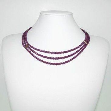Collana Corta di Rubini e Oro 18k