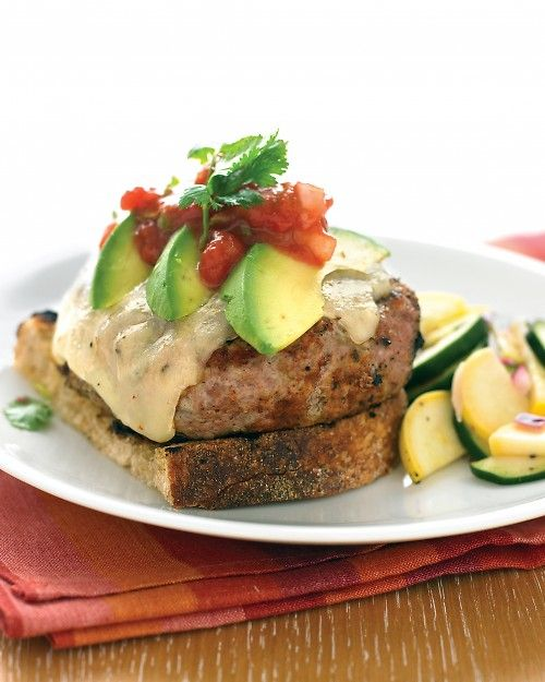 Light the grill for this zesty take on the classic burger, inspired by the Southwest -- Tex-Mex Turkey Burgers with Zucchini Salad