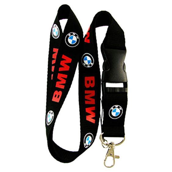 BMW Neck Lanyard Keychain Holder Snap Buckle (BLACK) USA