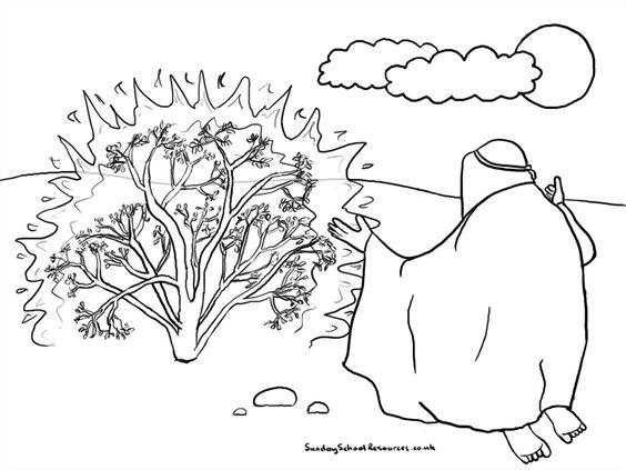 Sunday School Coloring Page Moses Burning Bush