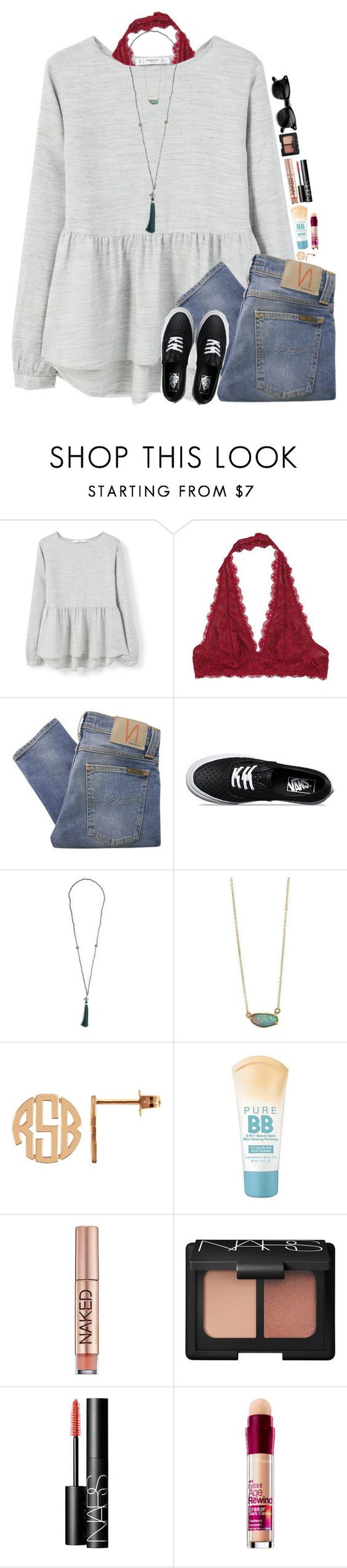"""""""Life's Too Short To Blind People With Rock Salt"""" by teamboby ❤ liked on Polyvore featuring MANGO, Free People, Nudie Jeans Co., Vans, Urban Decay, NARS Cosmetics, Maybelline and ZeroUV"""