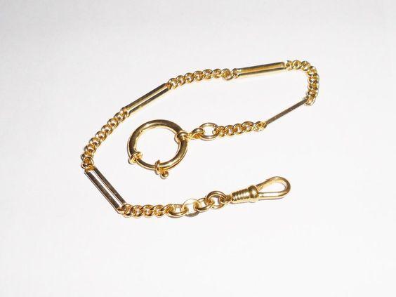 Goldene Uhrenkette für Taschenuhren 5/1000 UU106 von Atelier Regina auf DaWanda.com