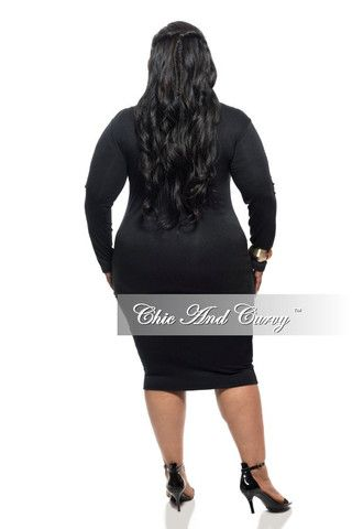New Plus Sized Top with Long Sleeves and Cowl Neck in Black