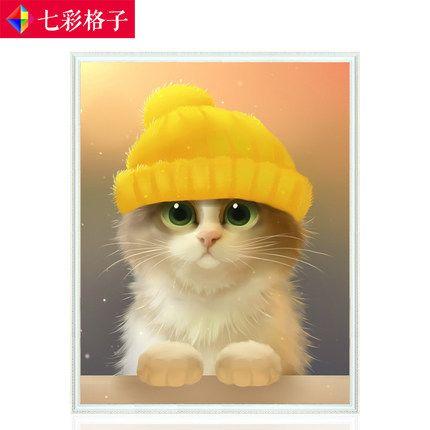 新款滿鑽十字繡卡通動漫可愛萌貓咪動物鑽石畫全貼臥室磚石秀